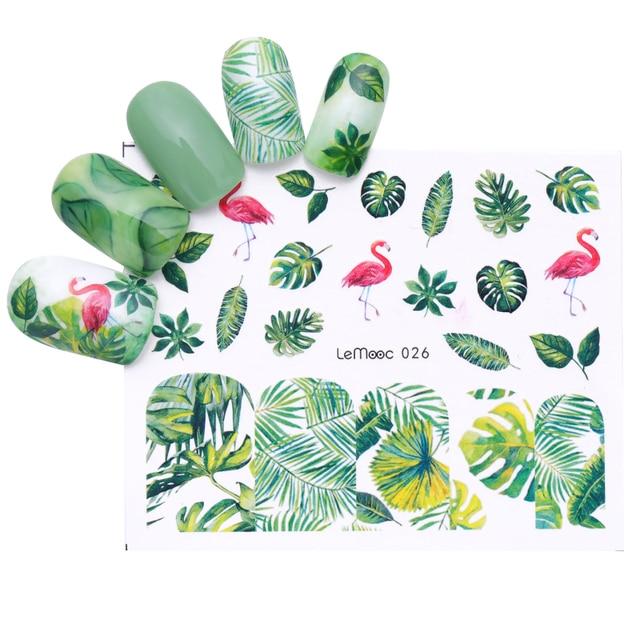 LEMOOC 1 лист цветок наклейки для ногтей с узорами Фламинго конструкции передачи воды наклейка ногтей художественное украшение ногтей для водяной знак, маникюр