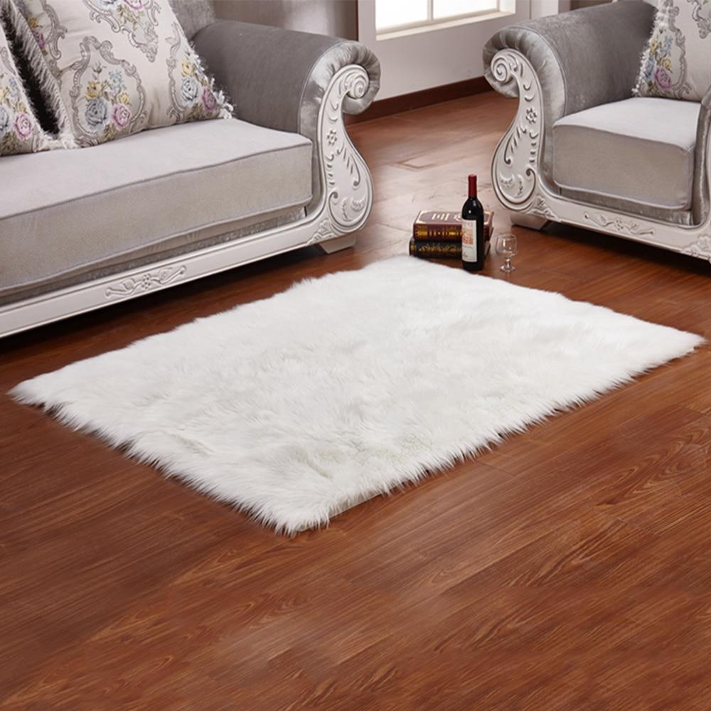 Yazi Luxury Rectangle Sheepskin Hairy Carpet Faux