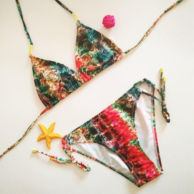 Online-Shop 2018 neue Sexy Snakeskin Muster Bikini Badeanzug Frauen ...