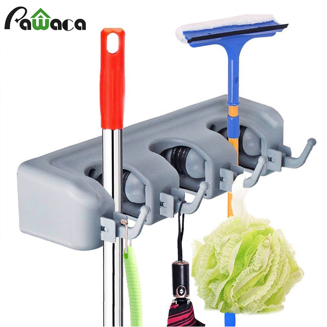 Broom Holder Wall Mounted Mop Broom Hanger Holder Garage Storage Rack U0026  Garden Tool Organizer For Home, Kitchen 3 5 Position