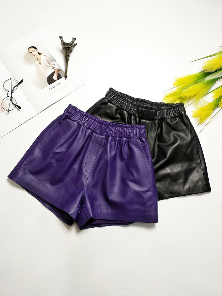Shorts Purple Wide-Legs Skinny High-Waist Casual Women Sheep Tight Tide Natural