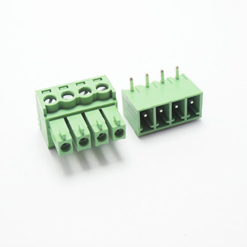 10 sets 3.81 4pin Right angle Terminal plug type 300V 8A 3.81mm pitch connector pcb screw terminal block Free shipping 50pcs 5 08mm pitch right angle 10 pin 10 way screw terminal block plug connector 2edg