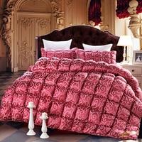Svetanya Роскошные Duck Подпушка пуховое зимнее одеяло Стёганое одеяло сплошной цвет Одеяло один Queen King Размеры