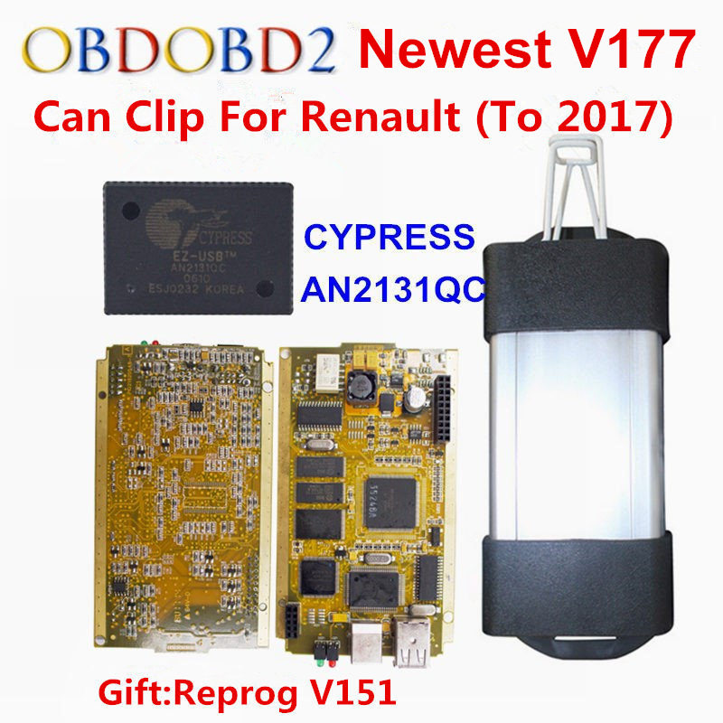 2018 Newest V177 For Renault Can Clip Full Chip Gold CYPRESS AN2131QC With NEC/OMRON Relay OBD2 Interface Diagnostic Scanner 2018 newest v178 for renault can clip full chip gold cypress an2135sc 2136sc chip nec relay obd2 interface diagnostic scanner