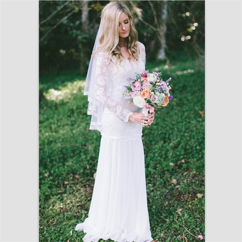 Bride Gowns 2015: Elegant White Lace Boho Wedding Dresses 2015 Long Sleeves