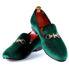 Harpelunde зеленый бархат Тапочки Туфли с ремешком и пряжкой Мужские модельные туфли модные Лоферы размеры 7–14
