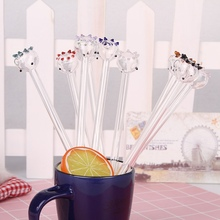 Pipette Drinking Straws Health cartoon glass straws Environmental Glass 1PC 9 Color