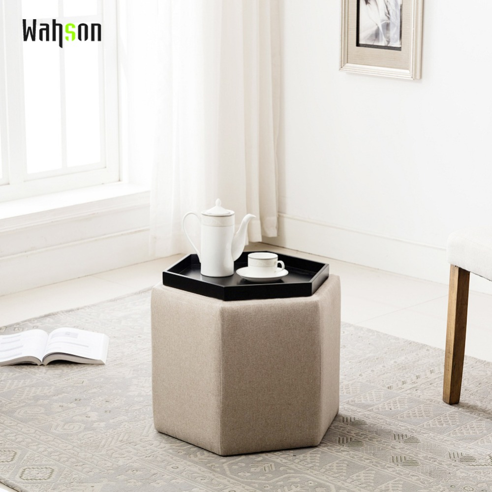 все цены на Wahson Round Storage Ottoman with Tray, Fabric Upholstered Footrest Beige Collapsible Shoe Storage Ottoman TN-5277 онлайн