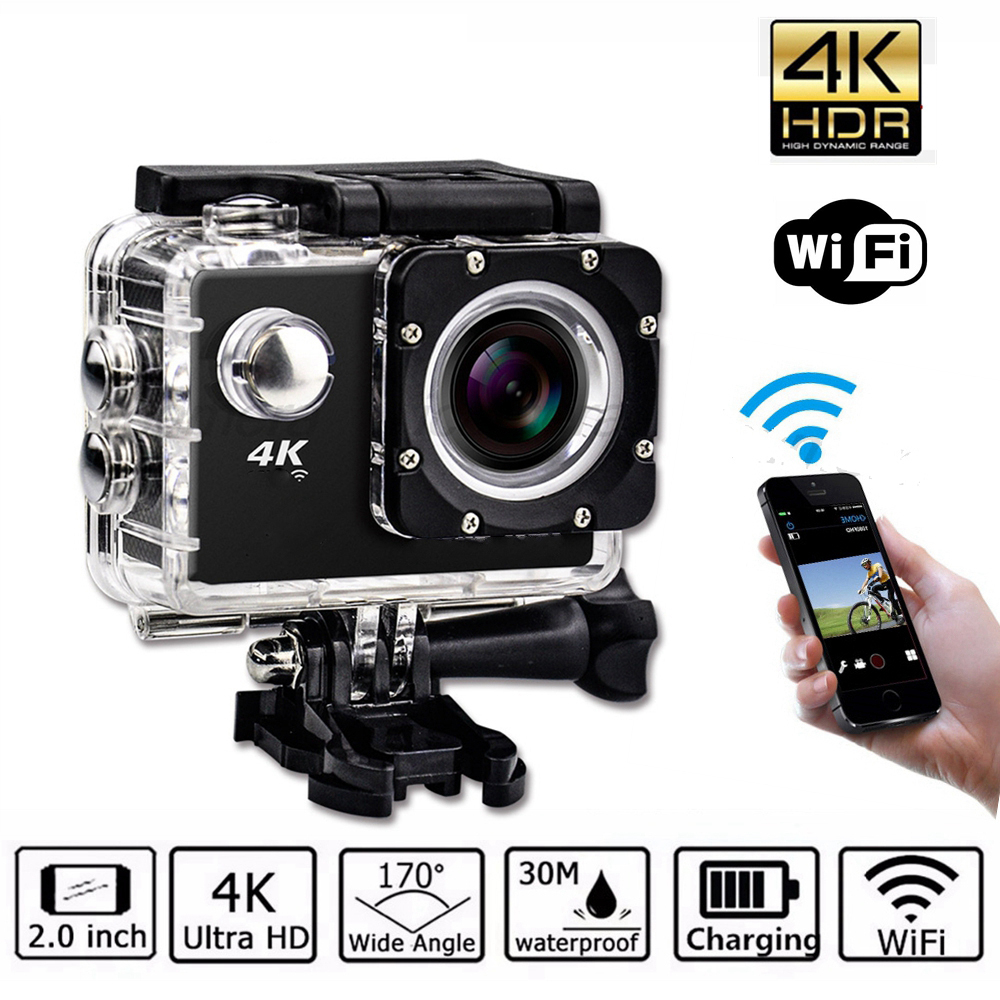 Ultra HD 4K Video Waterproof WIFI Camera Outdoor Action Sports Camcorder 1080P DV Cam Wide Angle 170 Degree Wide Angle 2.0 inch