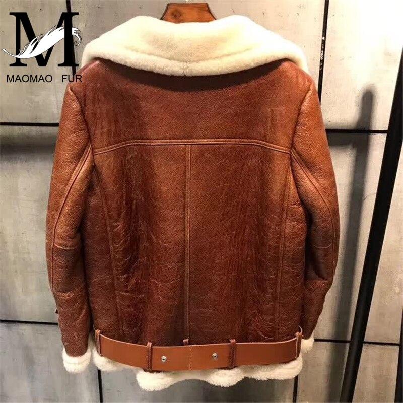 En Mode Vestes Nouvelle Manteau Véritable Chaud Mince Brown De Veste Moutons Femmes Col Hiver Fourrure Cuir Courte Épais 7tqRP