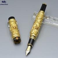 JINHAO Gold Dragon Sculpture Barrel Fountain Pen School Office Stationery Supplies Luxury Brand Writing Ink Pens