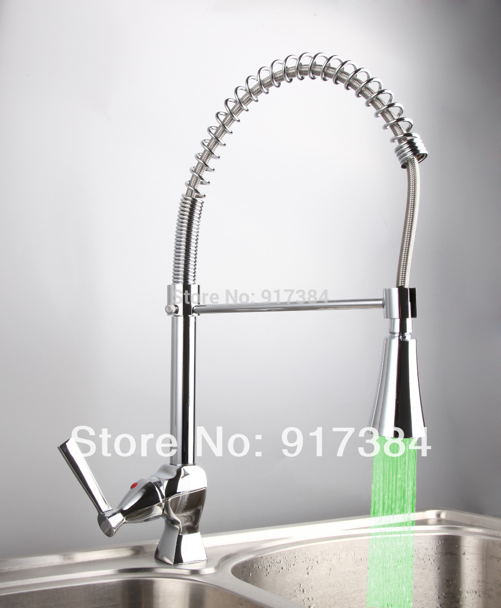 Single Hole Deck Mounted LED Ceramic Single Handle Chrome Finish Polishing Kitchen Mixer Tap Faucet CM
