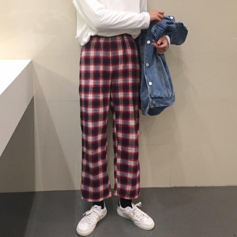 Autumn Korean Preppy Style Women Fashion Ulzzang Plaid   Wide     Leg     Pants   Loose Casual Elastic High Waist Student Long Brief   Pants