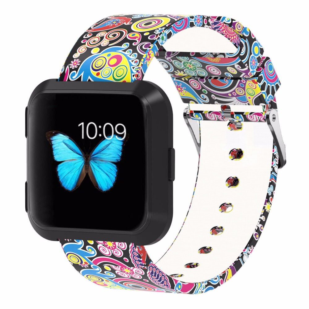 Bemorcabo for Fitbit Versa Starps,Silicone Floral Accessories Replacement Wristband Band for Fitbit Versa Smart Watch Women Men smart watch usb charging box cable for fitbit versa