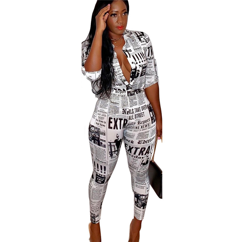 Adogirl S-3XL Newspaper Print Women Two Piece Set 3/4 Sleeve Shirts Top + Pencil Pants Female Fashion Streetwear Caual Outfits