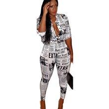 Adogirl S-3XL eWspaper Print Женщины из двух частей рубашки с рукавами 3/4 Топ + брюки-карандаш