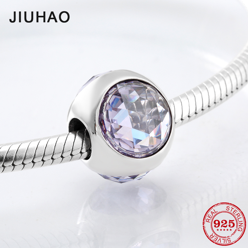 Fashion Trend 925 Sterling Silver Sparkling Colourful CZ Beads Fit Original Pandora Charm Bracelet Jewelry Making