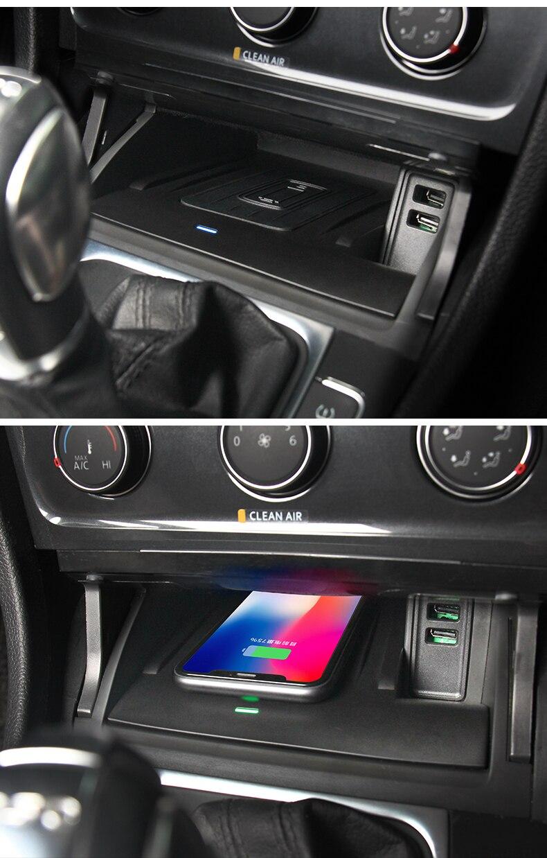 Pour Volkswagen VW Golf 7 MK7 accessoires de voiture téléphone Mobile 10 W QI chargeur sans fil adaptateur de téléphone support de charge rapide - 3