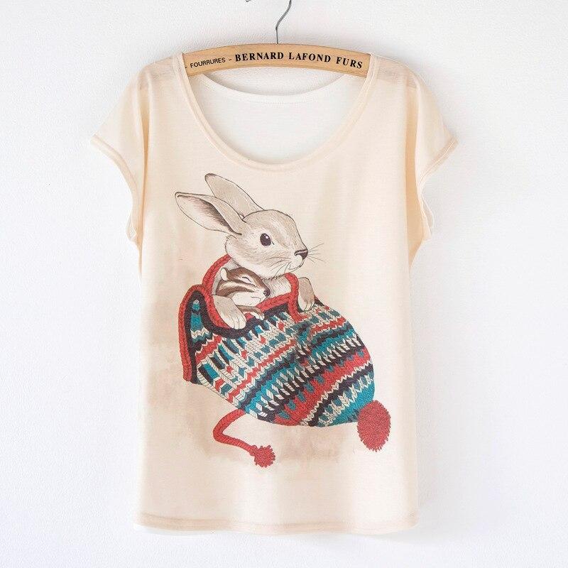 ジャージー mujer トップス 2016 ファッション ブランド原宿シャツ tシャツ女性かわいい うさぎ プリント バット ウィ