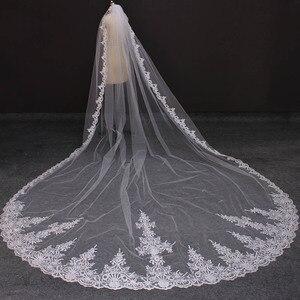 Image 2 - Echt Fotos 4 Meter Lange Volle Rand Spitze Hochzeit Schleier Eine Schicht Weiß Elfenbein Tüll Braut Schleier mit Kamm Veu de Noiva Longo