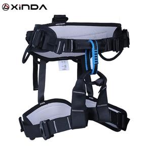 Image 1 - XINDA קמפינג חיצוני טיולים רוק טיפוס לרתום חצי גוף תמיכת מותניים בטיחות חגורת נשים גברים מדריך לרתום אווירי ציוד