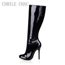 2c0d4b80 CHMILE CHAU de moda Sexy de fiesta Zapatos de las mujeres del dedo del pie  redondo Stiletto tacones altos damas botas hasta la r.