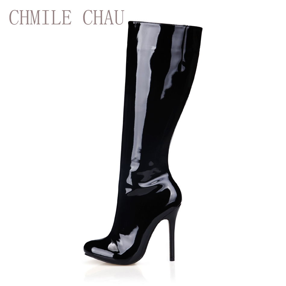 CHMILE CHAU Sexy Fashion Party Shoes Women Round Toe Stiletto High Heels Ladies Knee-High Boots Zapatos Mujer Bottes 0640cbt-b12