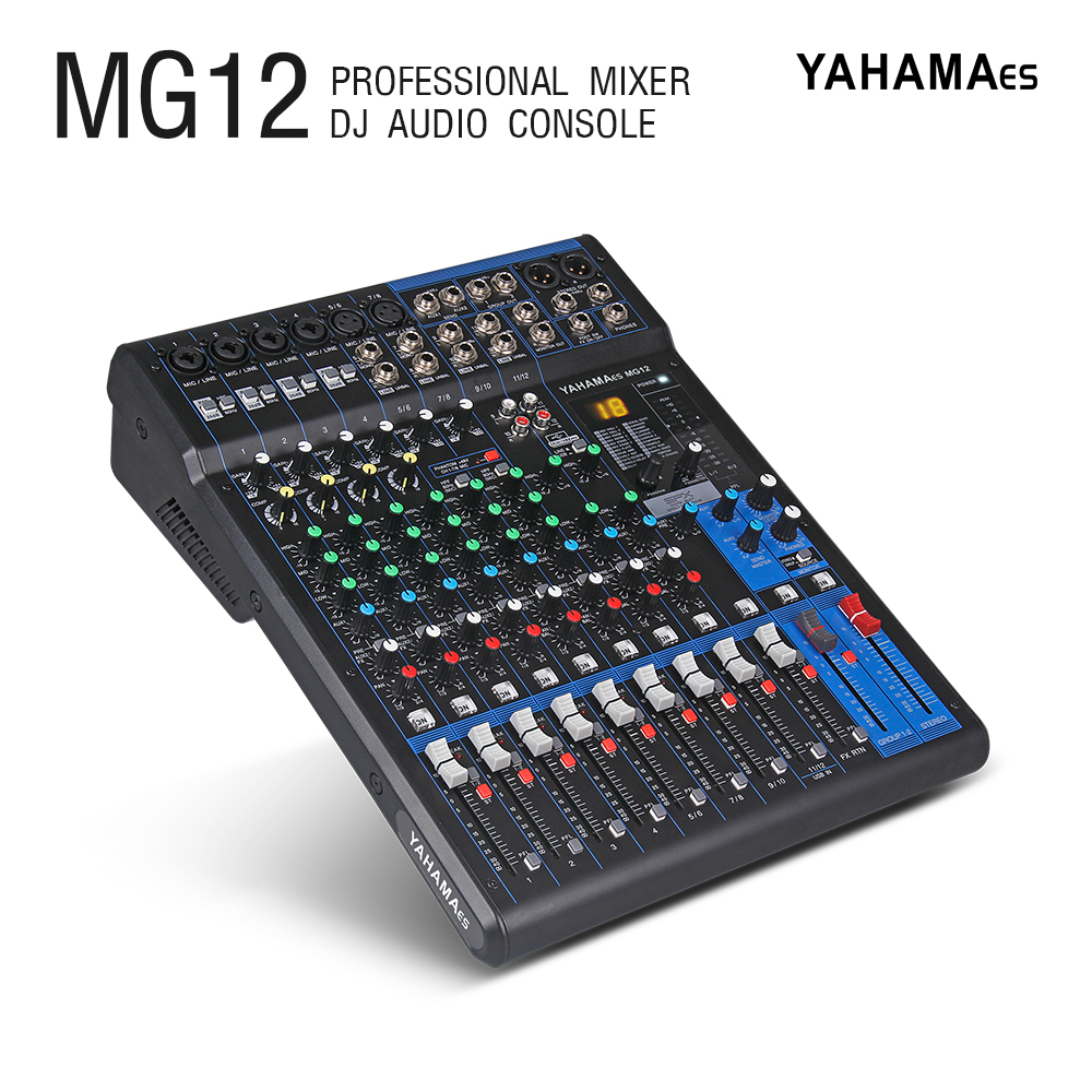 Professional YAHAMA es Audio 12 Channel with 24bit Sound Effects Studio Mixer Audio DJ Sound Controller