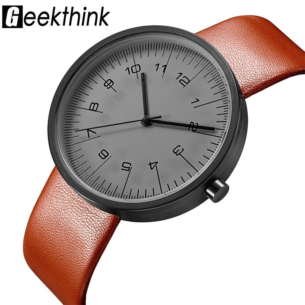 GEEKTHINK Top Luxury Brand Quartz Watch Men Casual Fashion Leather strap Japan quartz-watch Classic Creative clock Male