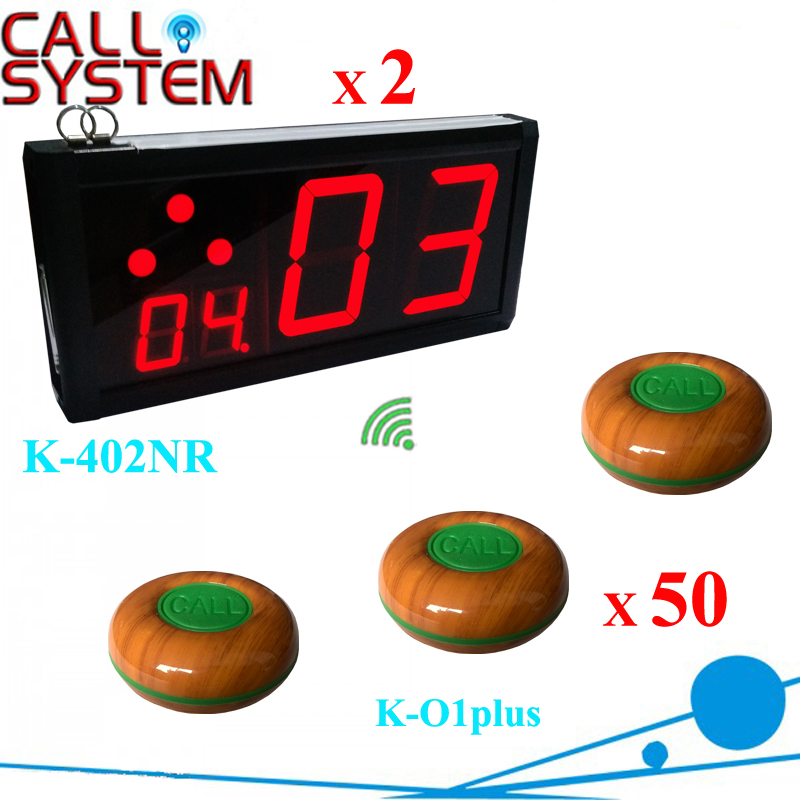 Ycall Restaurant Bar used Electronic paging caller system 2 counter number screen with 50 table buzzers 100% waterproof