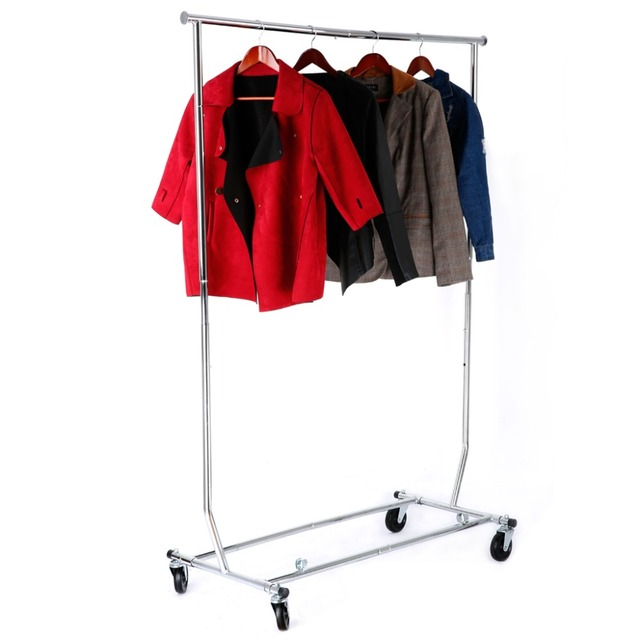 LANGRIA Collapsible Adjustable Single Rail Rolling Standing Drying Clothes Rack Garment Clothing Hanging Chrome Plated