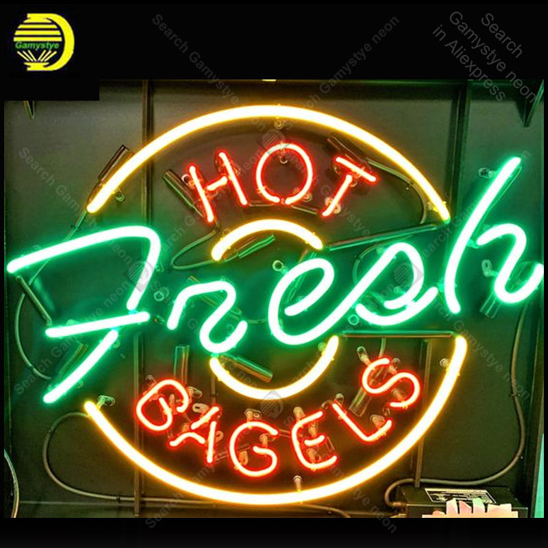 Neon Sign for HOT Fresh BAGELS decor Home Display Beer Express Neon Light up wall sign Handicraft Store Neon Signs for Room image
