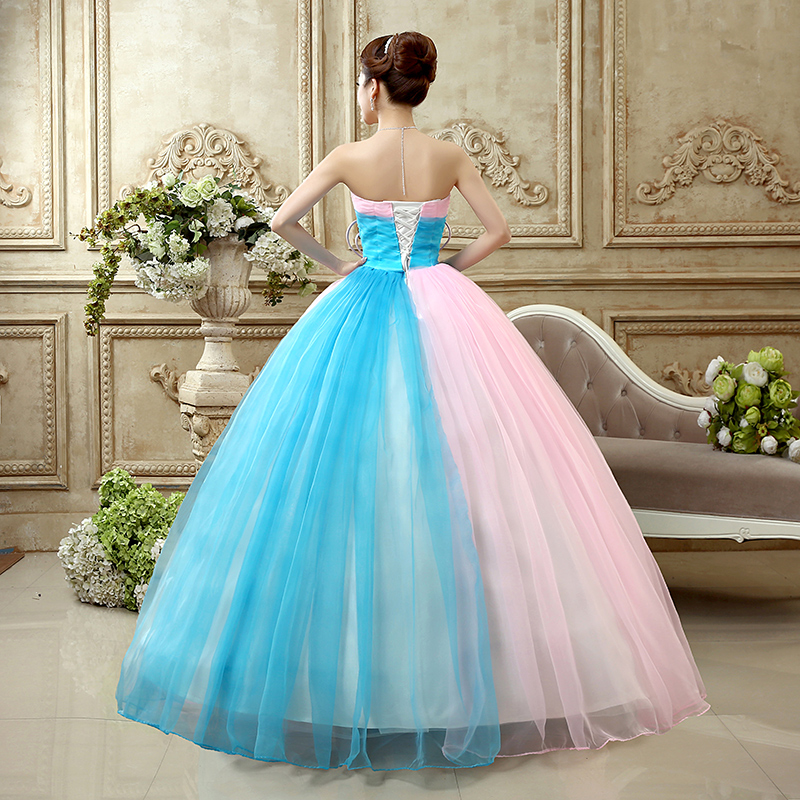 Weddings & Events Princess Quinceanera Dresse 2019 New Fashion Strapless Sleeveless Blue And Pink Lace Big Bow Luxury Stage Performance Dresses