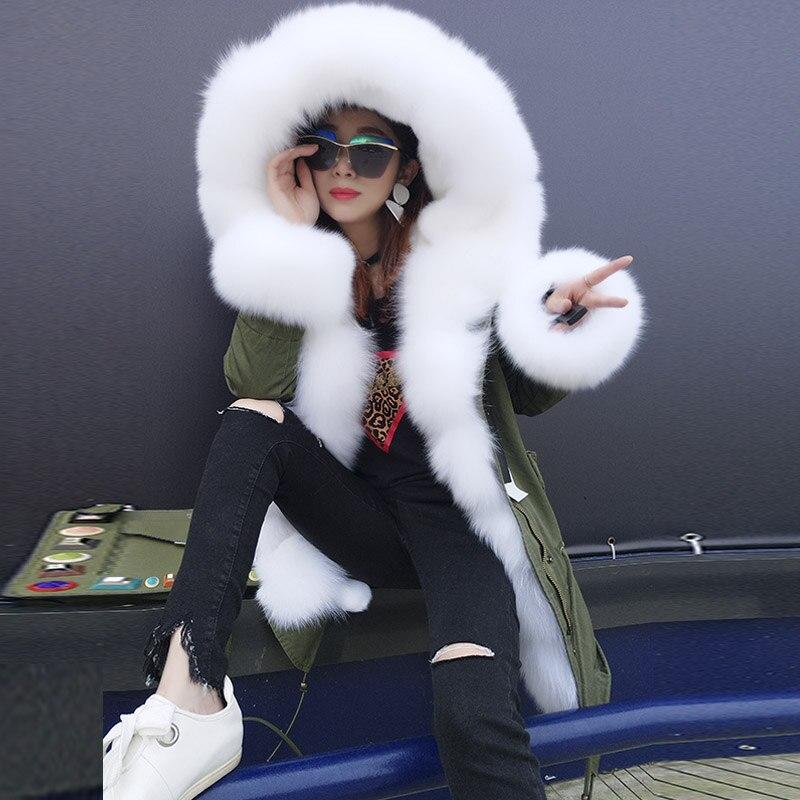 QIUCHEN PJ6010 il trasporto libero di alta qualità parka reale della pelliccia di fox trim e cappuccio con pelliccia del faux del rivestimento di modo delle donne parka