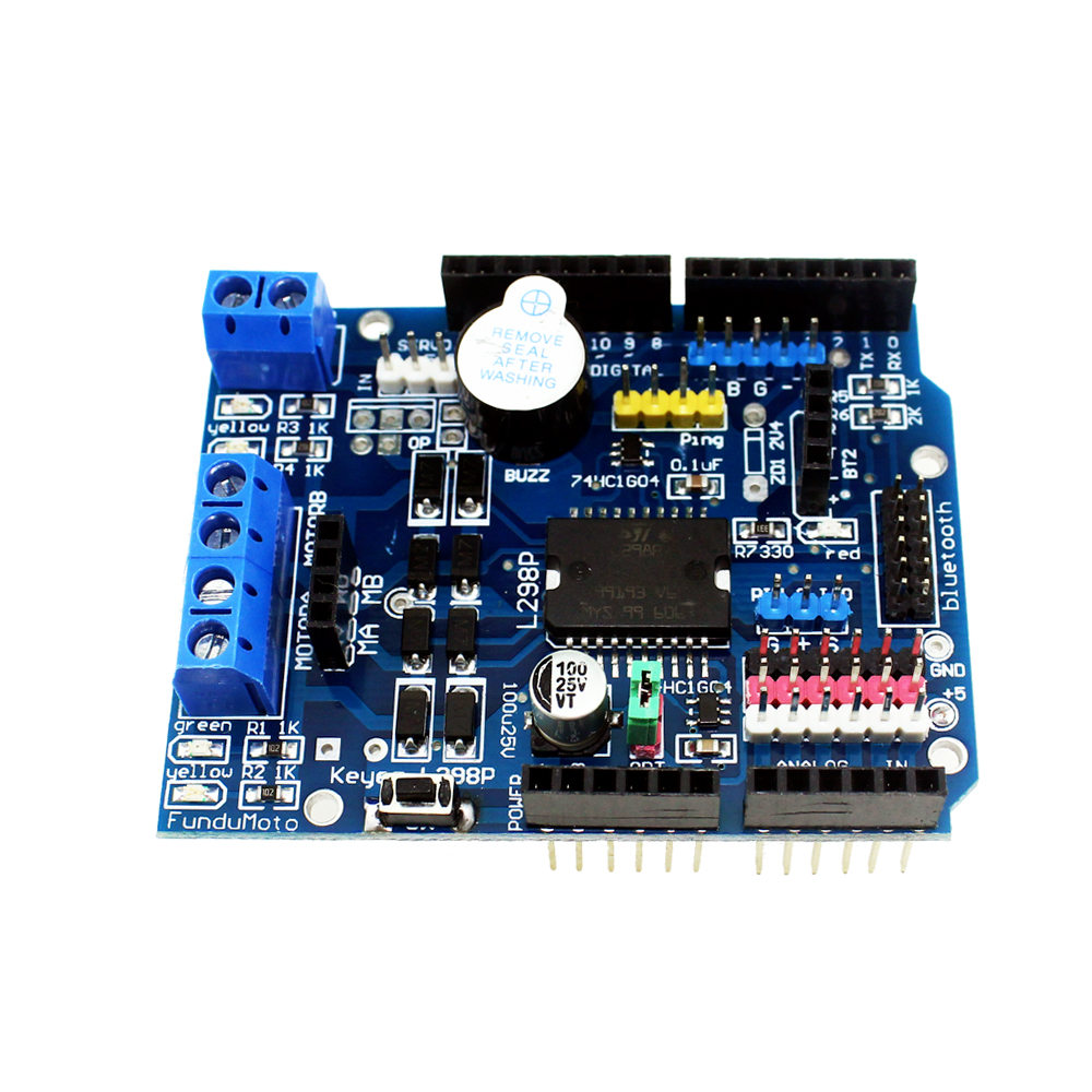 L298P PWM Speed Controller <font><b>Dual</b></font> High-Power H-bridge <font><b>Driver</b></font> ,<font><b>Bluetooth</b></font> Interface, L298P Motor Shield Board for Arduino