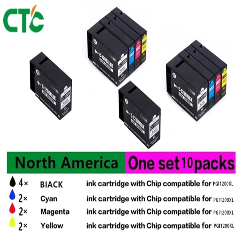 10PK for canon PGI-1200 PGI 1200 ink Cartridges with Chipa Compatible For Canon Pixma MB2020 MB2320 Printer