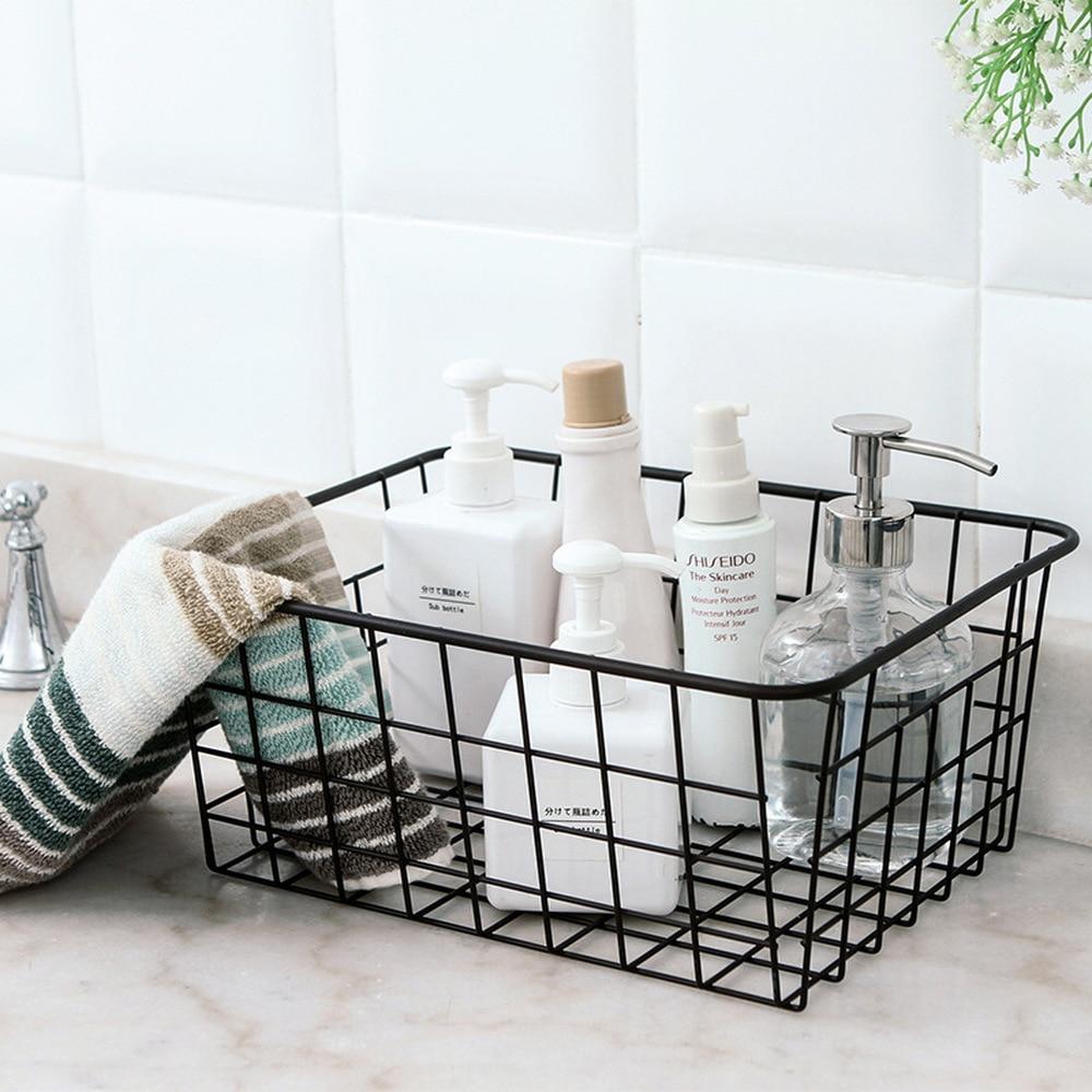 Minimalist Bathroom Toiletries: Chic Black Iron Storage Baskets Bathroom Cosmetic