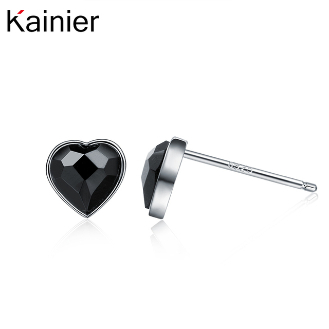925 Sterling Silver L Ocean Heart Stud Earrings Women Black Cz Stone Ceremony