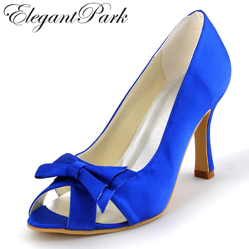 Blue Shoes A3055 Peep Toe Bow Cut outs Women's High Heel Shoes Bows Satin Lady Evening Party Prom Pumps Women wedding shoes