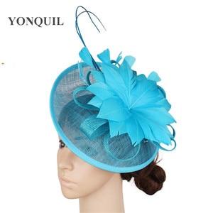 Image 3 - Gorący różowy Millinery Fascinator kapelusz elegancka kobieta z kwiatami i piórami akcesoria do włosów koktajl ślubny kościół chluba noworoczny prezent