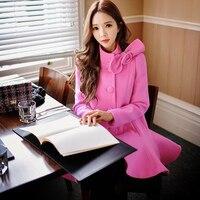 Оригинальные шерстяные пальто 2017 на осень зиму новый корейский мода стоять воротник тонкий рубчик средней длины с бантом шерстяное пальто