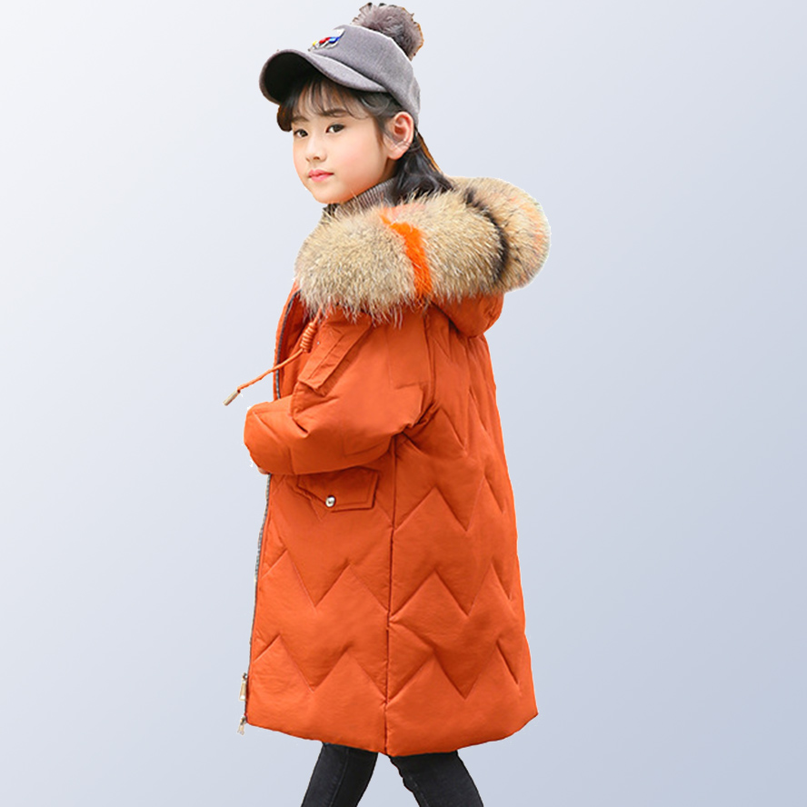 Children Girls Winter Coat New 2018 Fashion Fur Hooded Thick Cotton Down Clothes Long Kids Parka Jacket for 6 8 10 12 14 Years teen girl winter coat parka long down puffer hooded fur collar children winter jacket kids thick clothes for 6 8 10 12 14 years