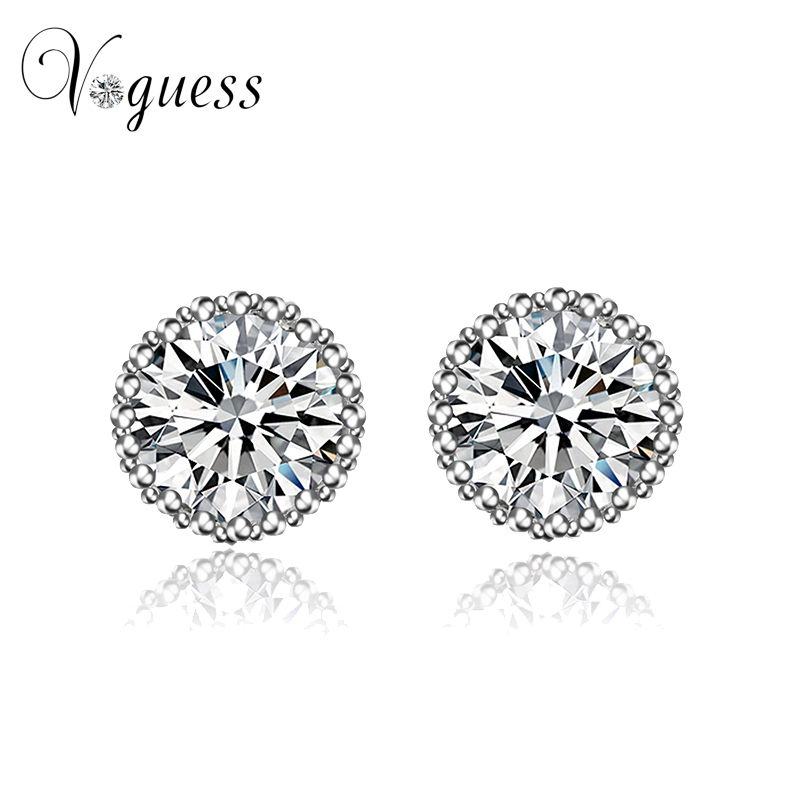 Voguess Brand Gorgeous Round Crown Stud Earrings With