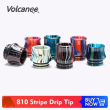 цены Volcanee 810 Drip Tip Resin Mouthpiece for V8 Big Baby V12 Prince Sticke V8 E Cigarette Accessories Drip Tip 810