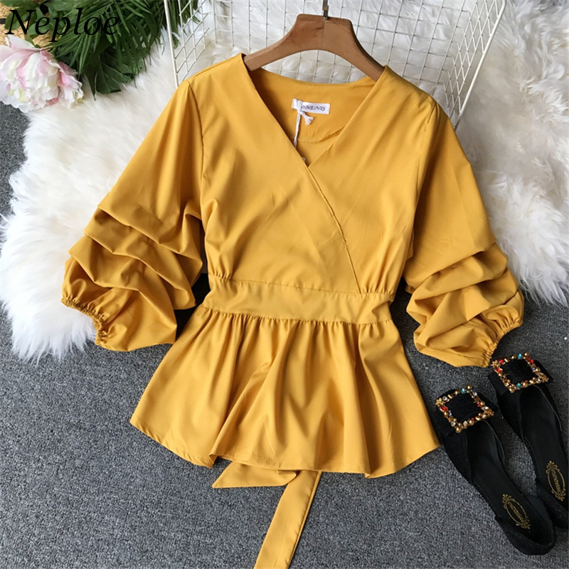 Neploe Solid Slim Waist Puff Sleeve Women Blouse V-Neck Vintage Elegant Female Top 2019 Autumn New Fashion Chic Shirts 68860