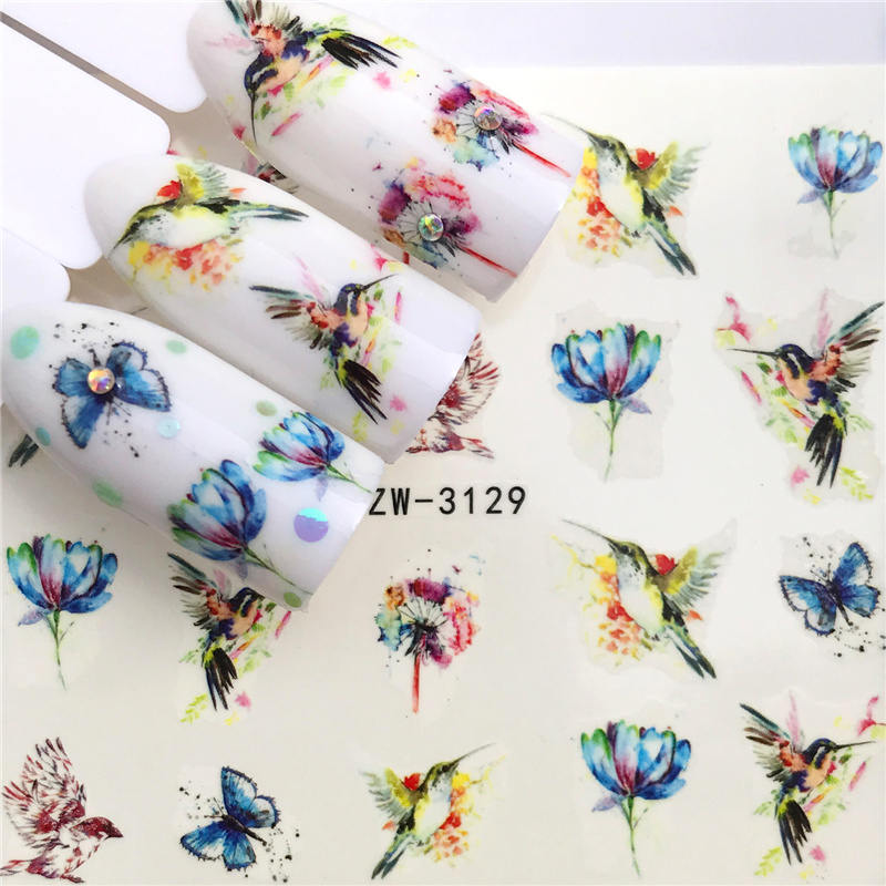 ZKO 1 Folha Nail Stickers Transferência de Água Etiqueta Da Borboleta/Deslizante Lótus Projetos Da Arte Do Prego Manicure Decoração