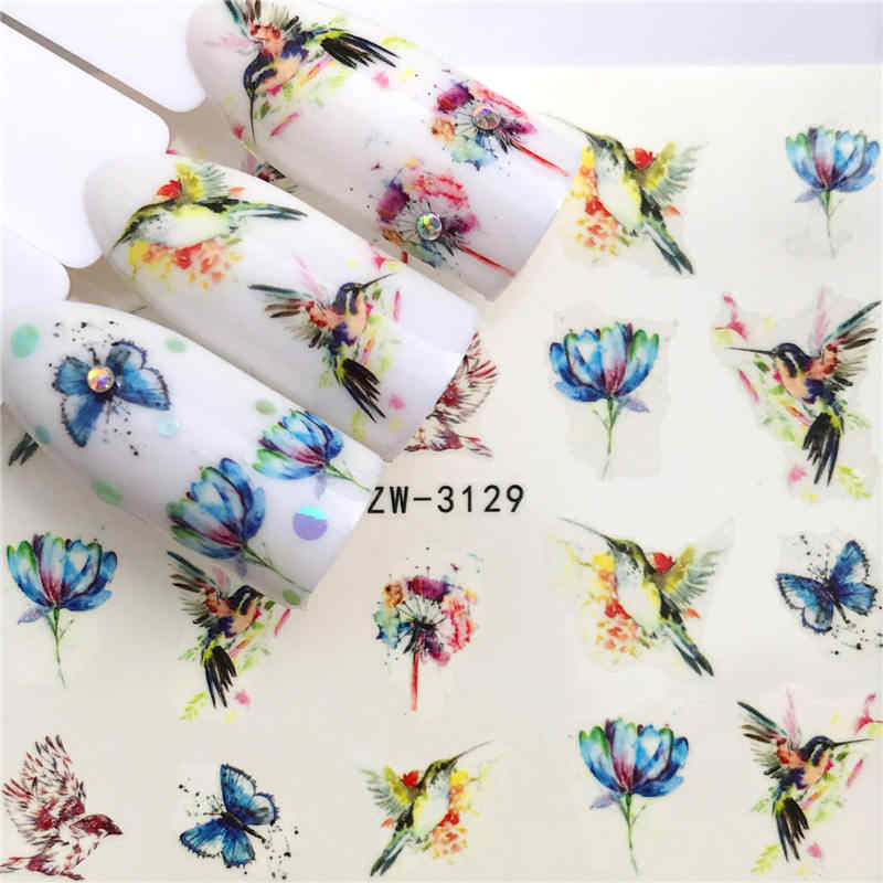 ZKO 1 Sheet Nail Stickers Water Transfer Sticker Butterfly / Lotus Designs Nail Art Slider Manicure Decoration