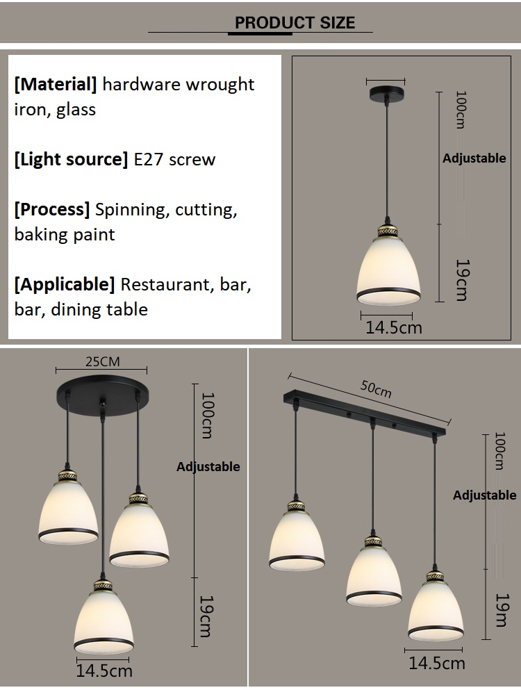 Modern Minimalist Set of 3 Kitchen Island Dining Room Glass Pendant Light (10)