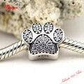 Собака лапа CZ серебро подвески совместимый с пандора браслет 100% чистое серебро ювелирные изделия лучшие подарки для женщины