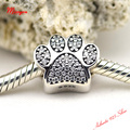 Dog paw CZ silver charm compatible with pandora bracelet 2015 NEW 100% sterling silver fashion jewelry best gifts for women